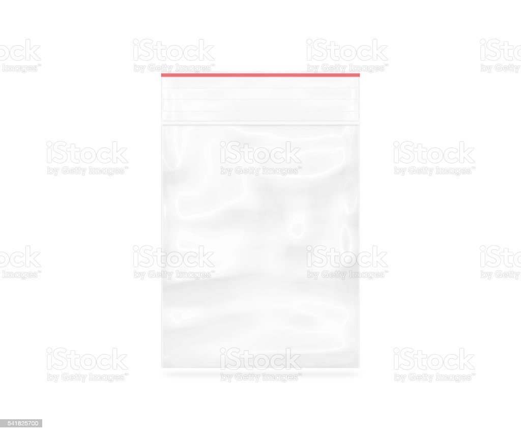 Plastic transparent zipper bag isolated on white stock photo
