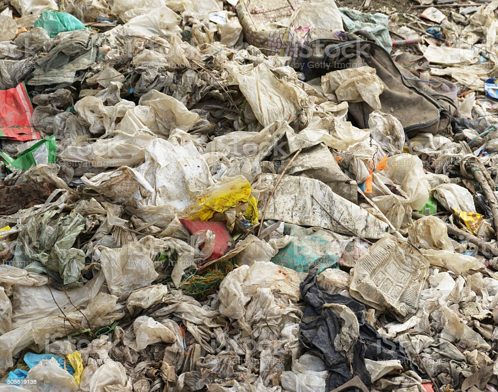 Plastic Trash And Rubbish Clogging Up The Earth stock photo