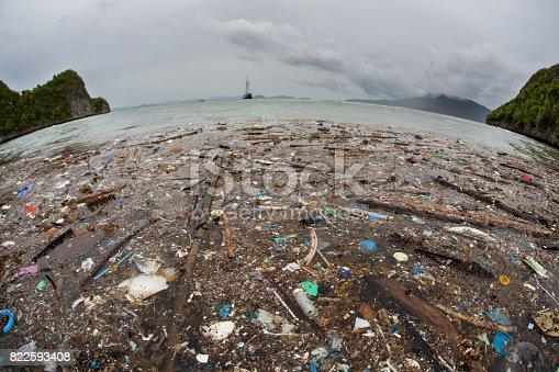 istock Plastic Trash in Tropical Pacific Ocean 822593408