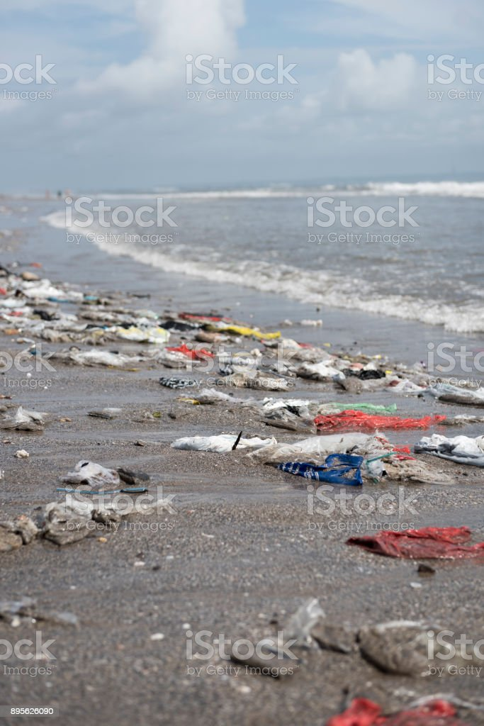 Plastic Trash Washed Up On Beach In Seminyak Bali Stock Photo More