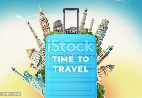 istock Plastic travel bag with world's famous landmarks and tourist destinations elements in colorful background. 3d illustration. 1131877130
