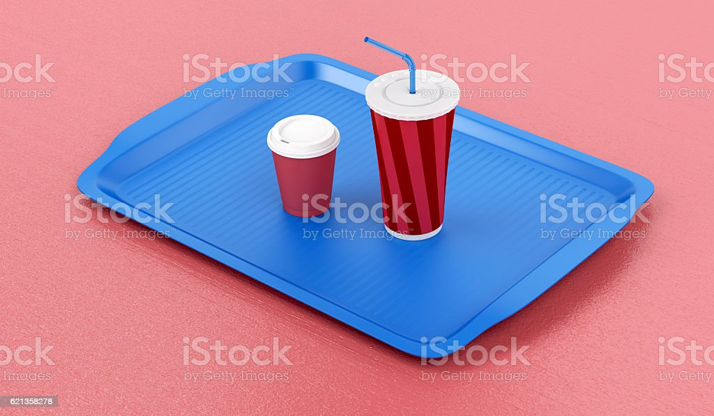 Plastic tray with coffee and soft drink stock photo