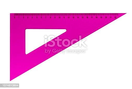 istock Plastic triangular ruler - pink 1074810854