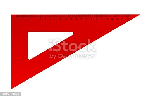 istock Plastic triangular ruler - red 1087380682