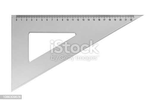 istock Plastic triangular ruler - white 1086309526