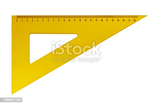 istock Plastic triangular ruler - yellow 1086901382