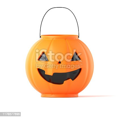 Child's Halloween trick or treat pail, with clipping path