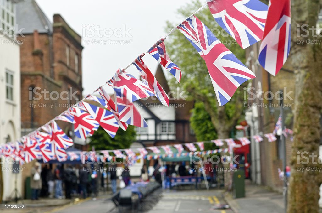Plastic Union Jack Flag Bunting stock photo