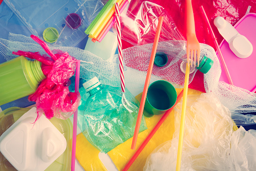 Plastic Waste Background Stock Photo - Download Image Now
