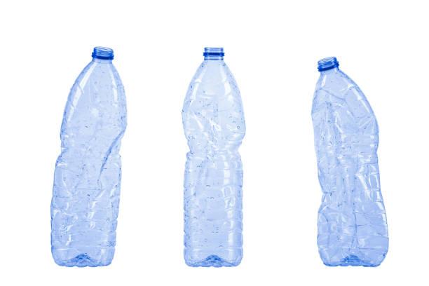 avfall plastflaskor isolerad på vit - pet bottles bildbanksfoton och bilder