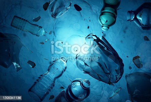 istock Plastic Waste Floating In The Open Ocean 1205341136