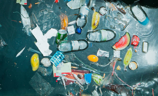 plastic waste in the sea - ocean plastic stock pictures, royalty-free photos & images