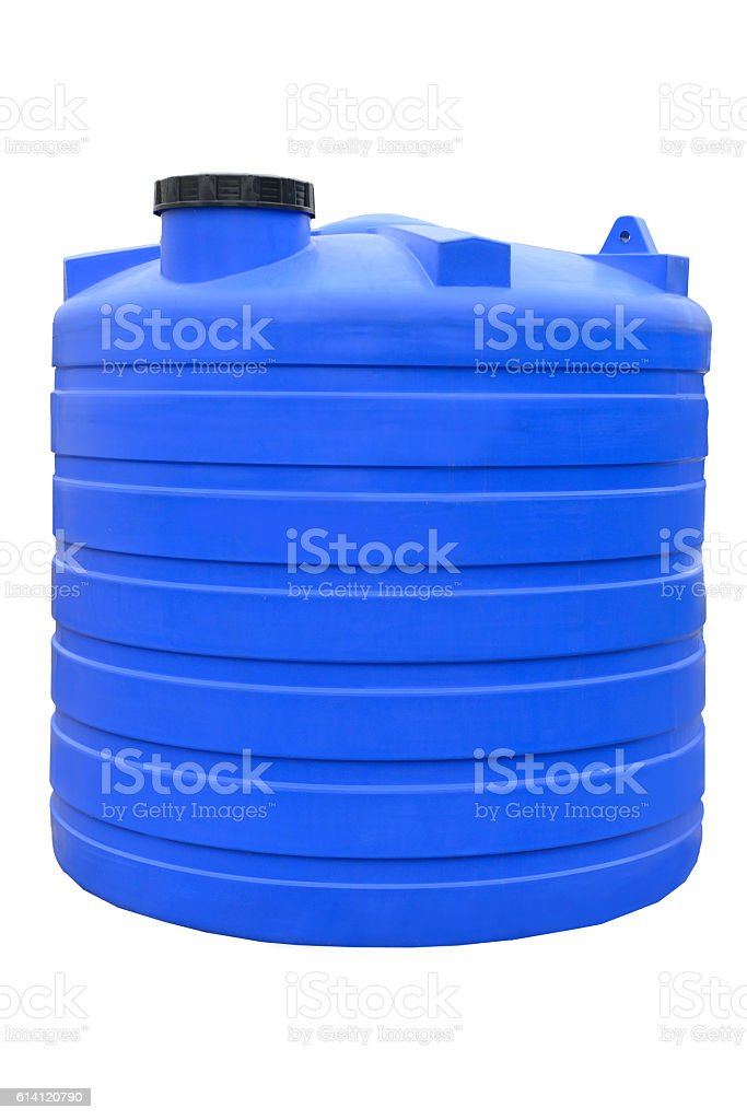 Plastic water and liquids barrel storage industrial container stock photo
