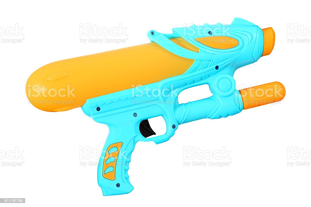 Plastic water gun isolated on white background stock photo