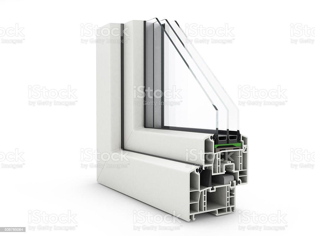 Plastic Window profile isolated on white stock photo