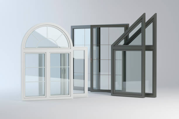Plastic windows collection 3D illustration pvc stock pictures, royalty-free photos & images