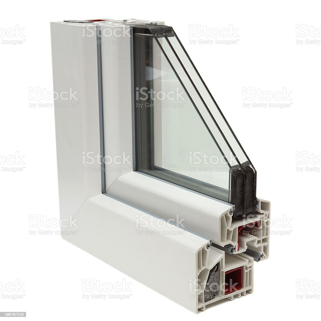 plastic windows profiles stock photo