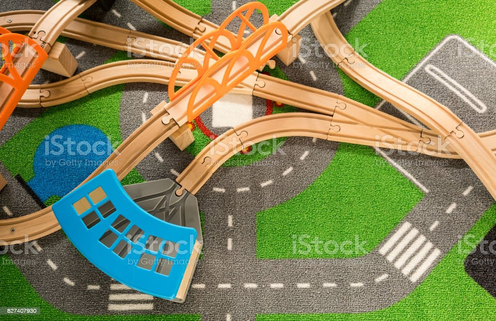 Plastic wooden track for train toy stock photo
