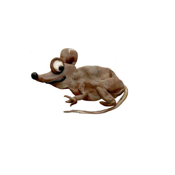 plastilin 3d baby ratte tier skulptur isoliert - maus comic stock-fotos und bilder