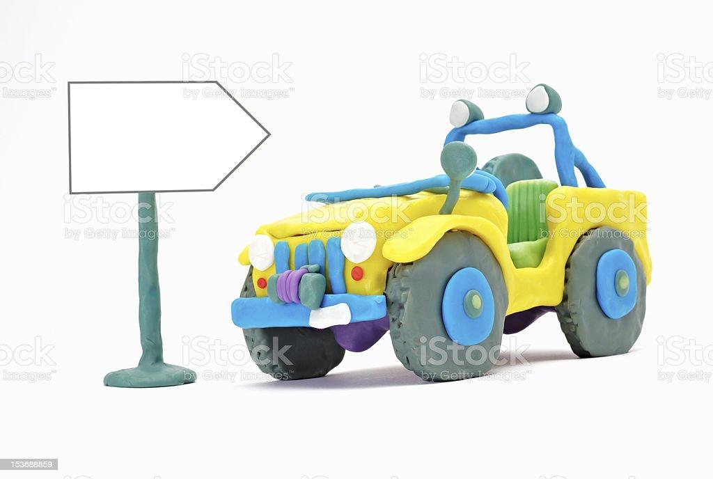 Plasticine 4WD Jeep stock photo