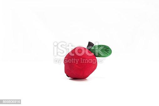 istock Plasticine artwork. Apple made from plasticine. 859806916