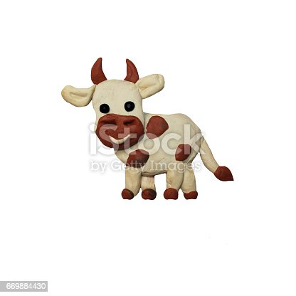 624869600 istock photo Plasticine  baby animal cow 3D rendering  sculpture isolated on white 669884430