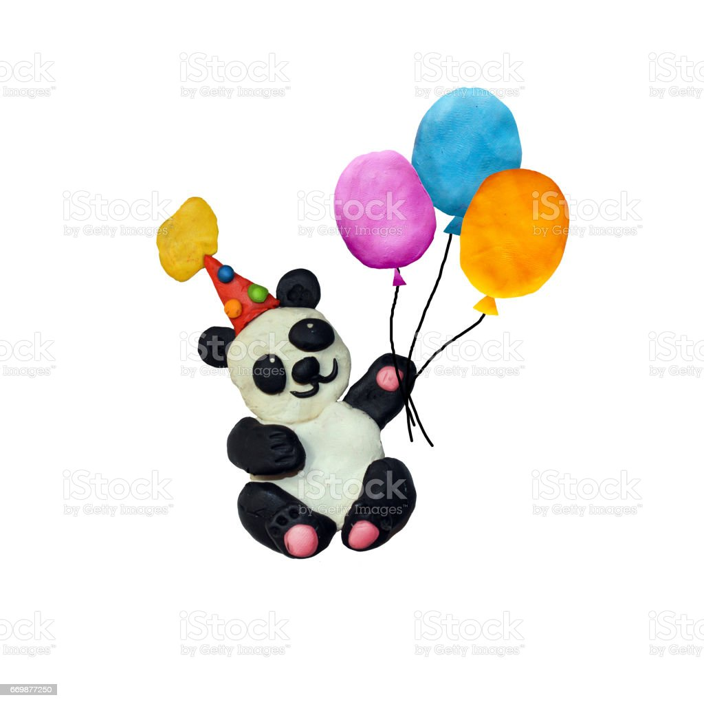 Plasticine  baby panda in party hat sculpture isolated stock photo