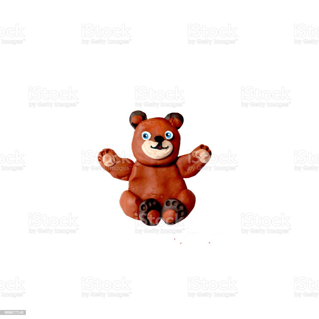 Plasticine  baby teddy bear sculpture isolated stock photo
