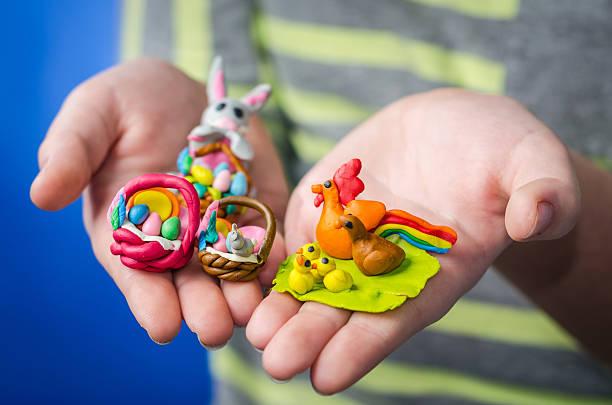 Plasticine Easter figures stock photo