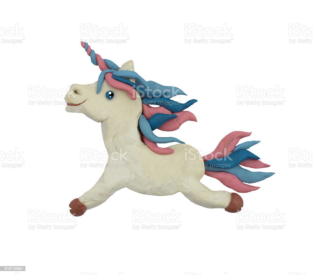 Plasticine  Fantasy Unicorn sculpture isolated stock photo