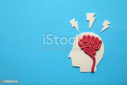 585087100 istock photo Plasticine head and brain concept. Smart mind, neurology knowledge 1133563223