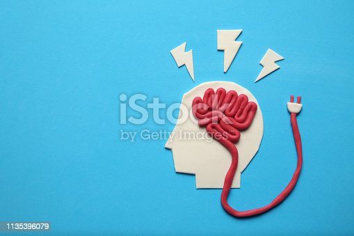 585087100 istock photo Plasticine head and brain concept. Smart mind, neurology knowledge 1135396079