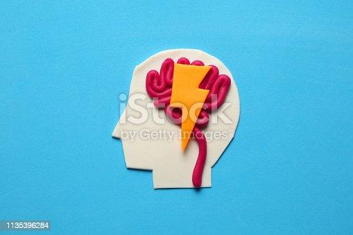 585087100 istock photo Plasticine head and brain concept. Smart mind, neurology knowledge 1135396284