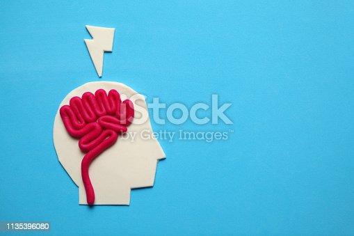 585087100 istock photo Plasticine head and brain inside. Mental activity, psychology concept 1135396080