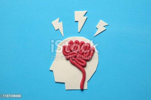 585087100 istock photo Plasticine head and brain inside. Mental activity, psychology concept 1137248450