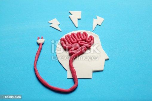 585087100 istock photo Plasticine head and brain. Smart critic mind. Creative think 1134880930