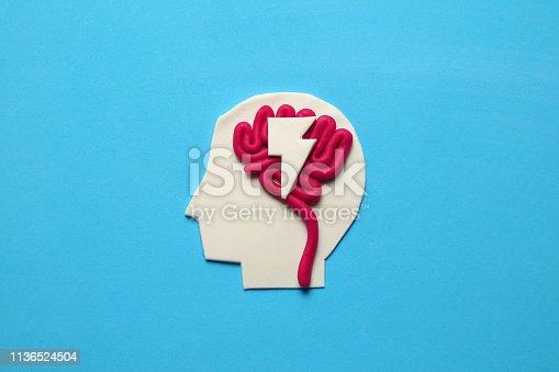 585087100 istock photo Plasticine head and brain. Smart critic mind. Creative think 1136524504