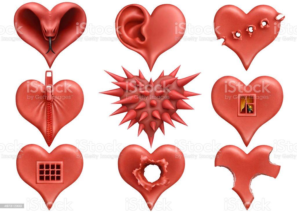 Plasticine hearts collection stock photo