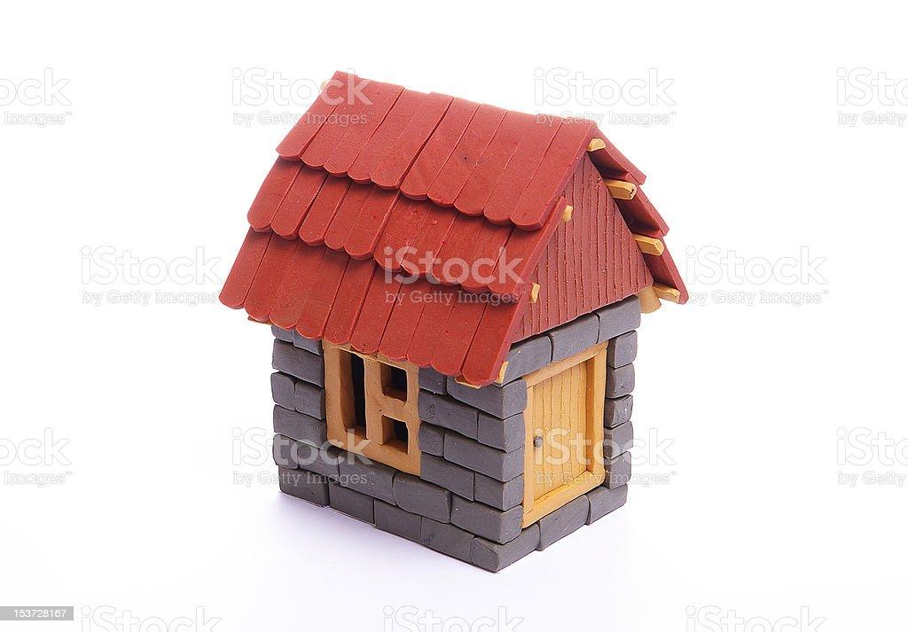 plasticine house plasticine house isolated on white Brick Stock Photo