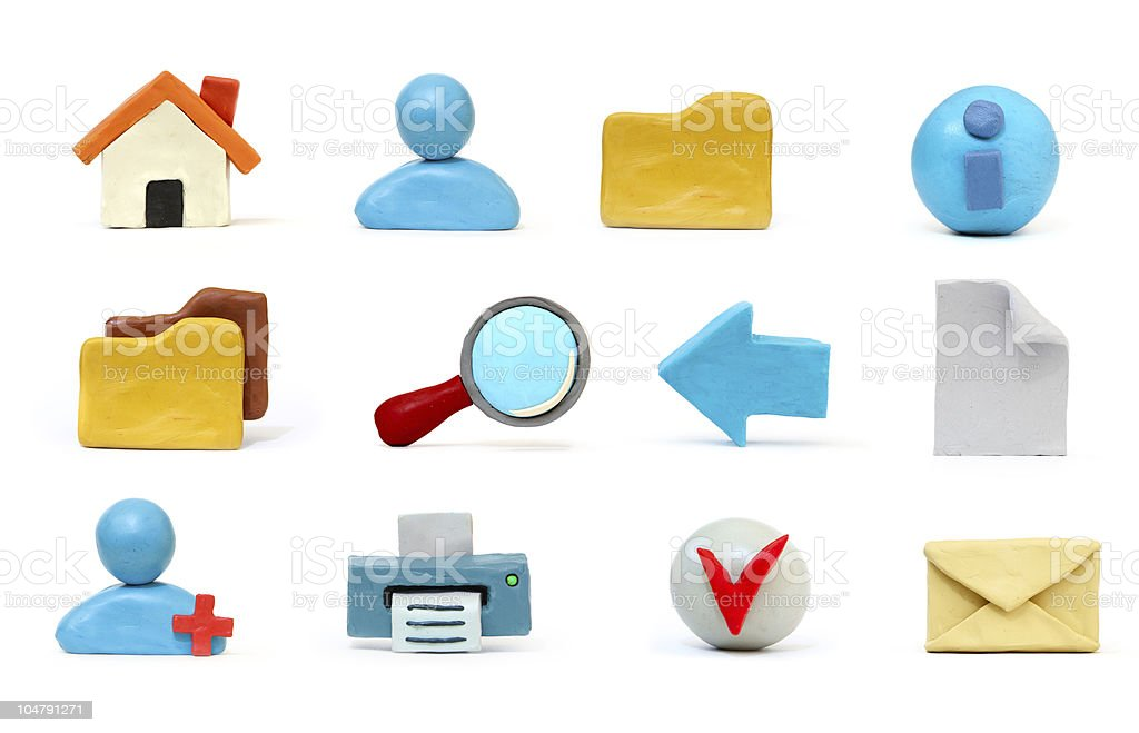 plasticine icon set stock photo