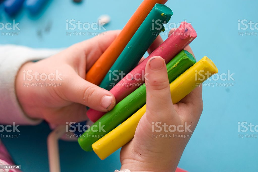 plasticine in child hands. royalty-free stock photo