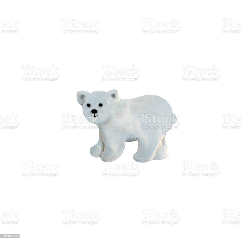 Plasticine  polar bear  sculpture isolated stock photo