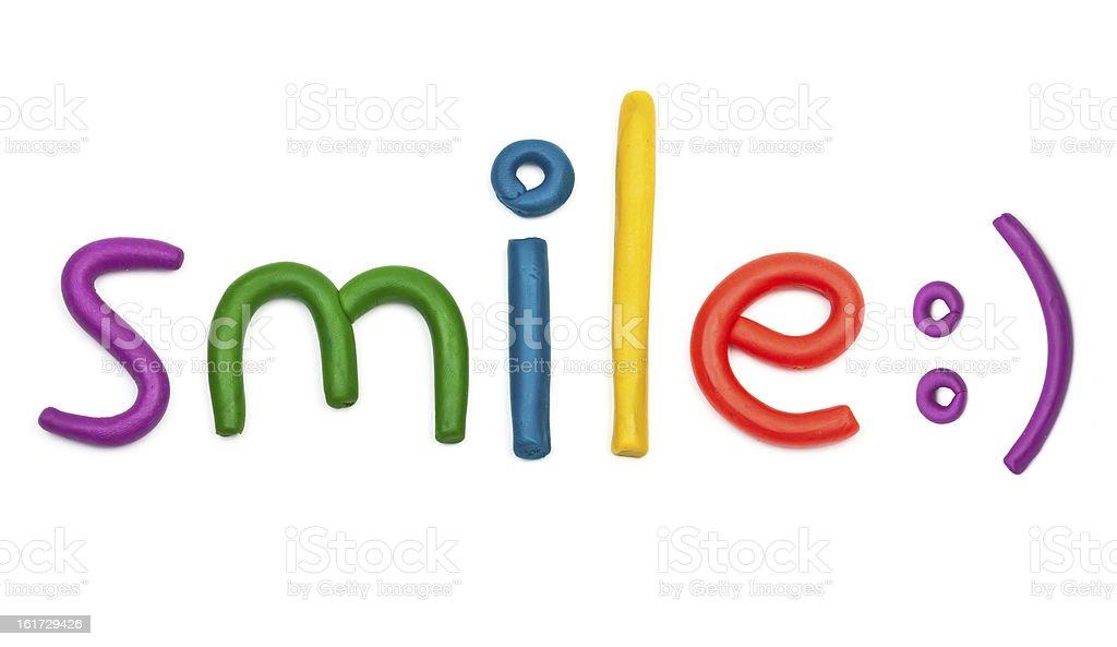 plasticine smile message stock photo