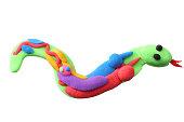 plasticine snake isolated on white background. modelling clay. inside the snake