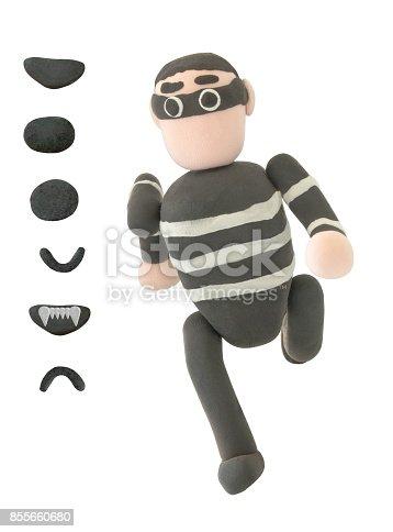 istock Plasticine Thieve or crime in running action 855660680