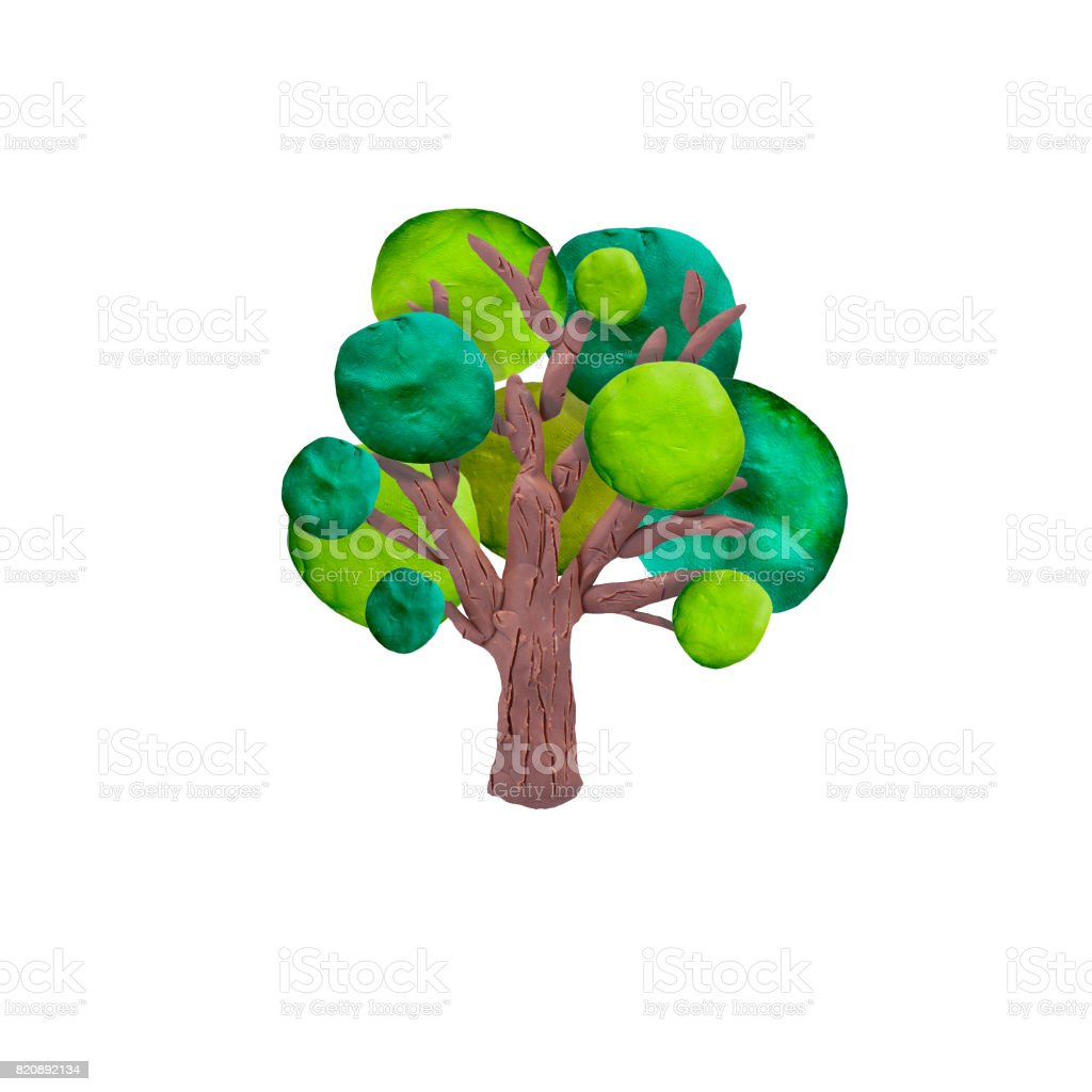 Plasticine  tree   sculpture isolated stock photo