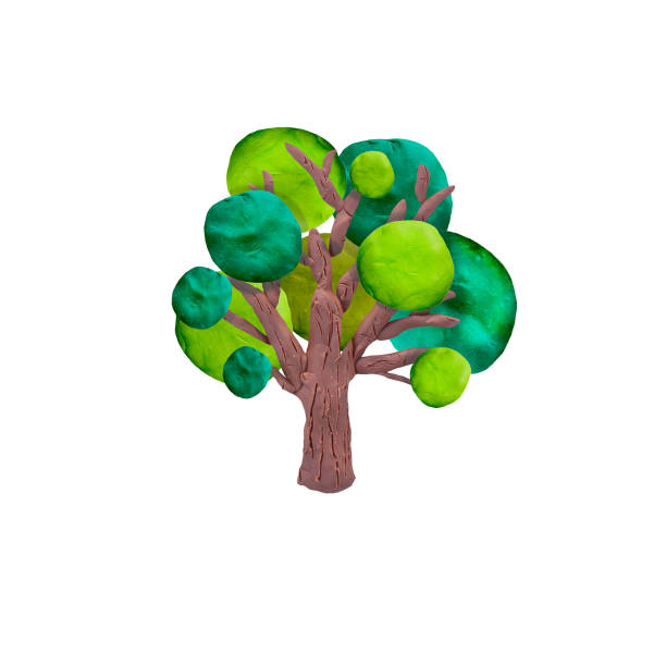 plasticine  tree   sculpture isolated - tree logo stock photos and pictures