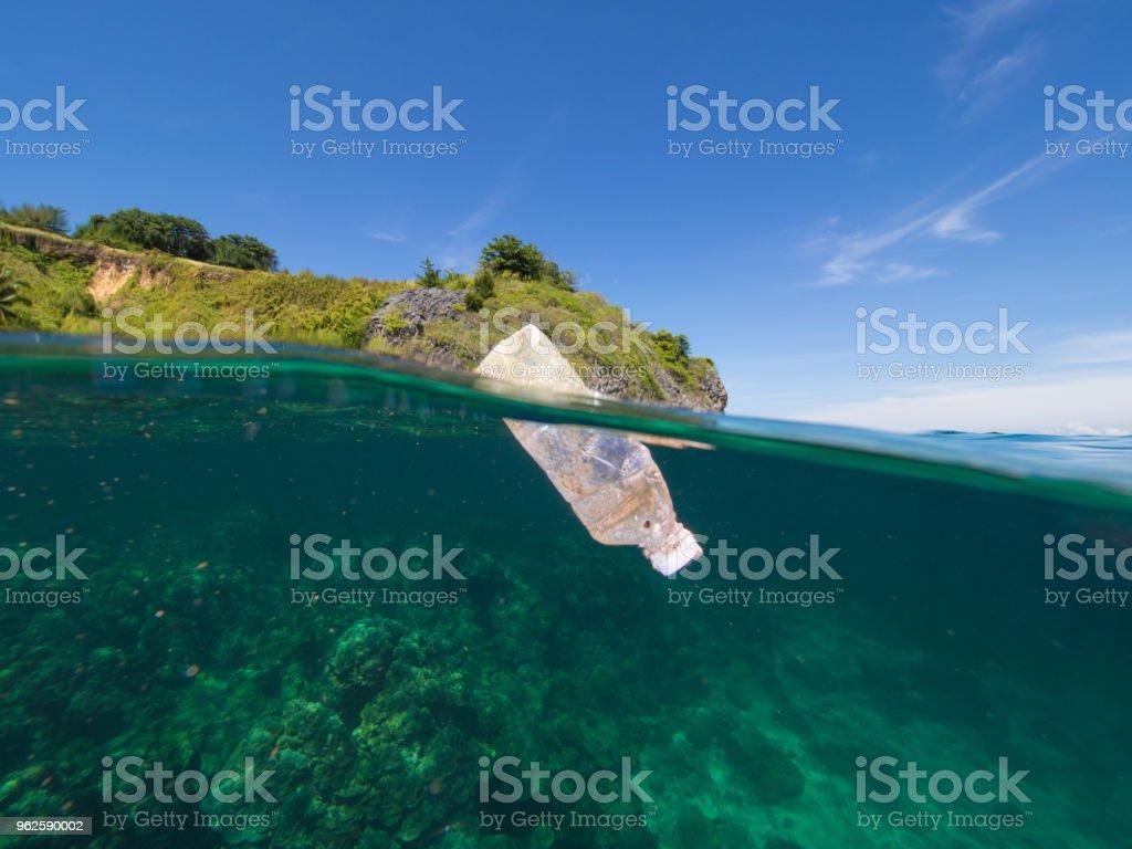 Plastics on the surface stock photo