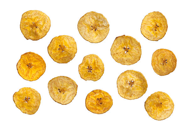 Platano plantain chips on white background stock photo