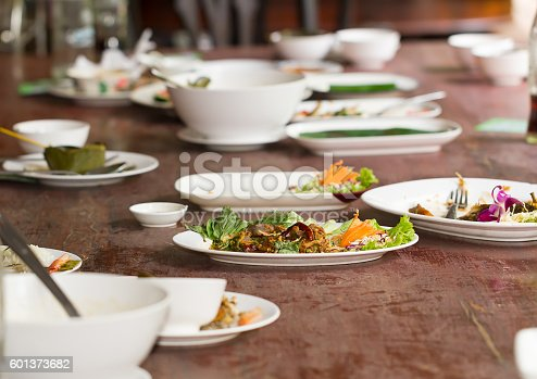 istock Plate after dining table finish 601373682